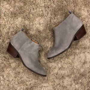 J. Crew Sawyer Gray Suede Leather Ankle Booties